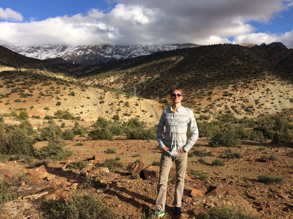 Daniel posing in front of the picturesque Atlas Mountains. Photo Credit: Elizabeth Beaton, Spring 2018