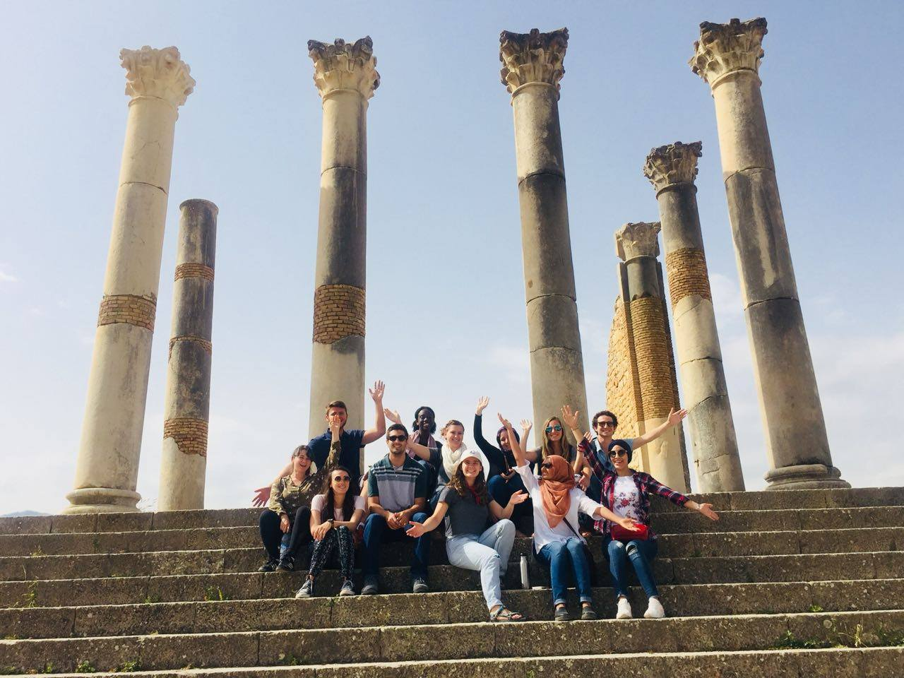 Students enjoying the Roman ruins tours in Volubilis. Photo Credit: AMIDEAST, 2018