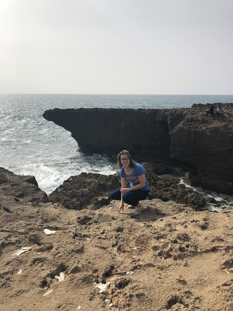 Visited Rabat beach the first day with my group during orientation. Rabat beaches can have sand, but the area near my homestay is comprised of volcanic rock. Photo credit: Julia Slawinski, 2018
