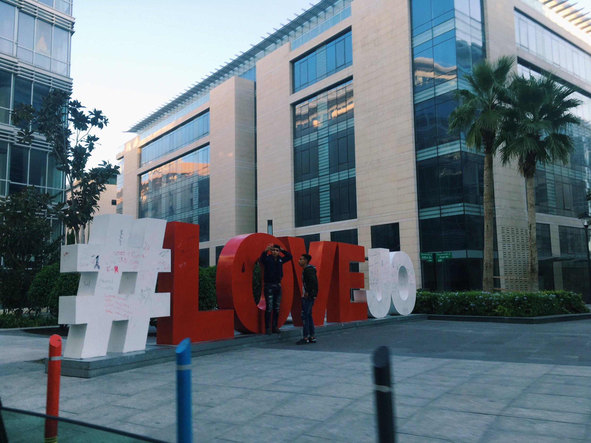 #LOVEJO at Amman's new downtown, Abdali. Photo credit: L. McGuire, Fall 2018