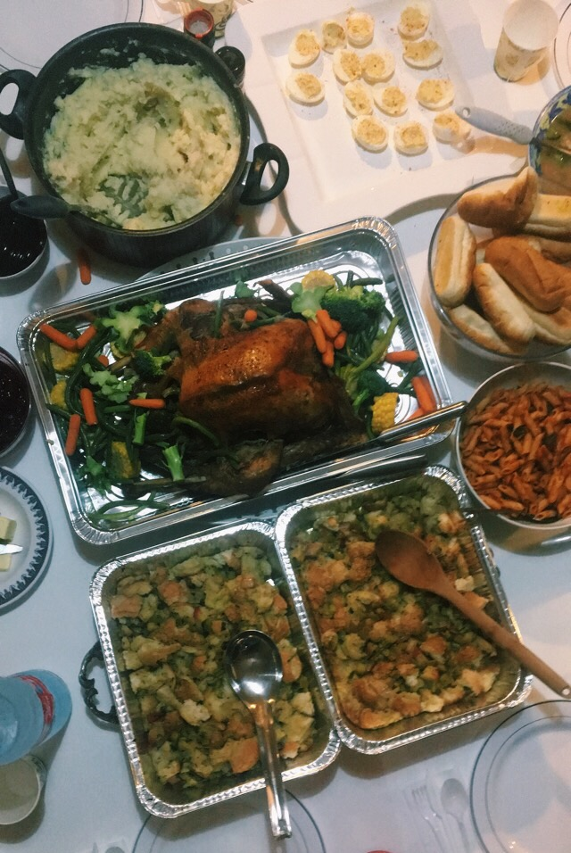 Our Thanksgiving potluck! Photo credit: L. McGuire, Fall 2018