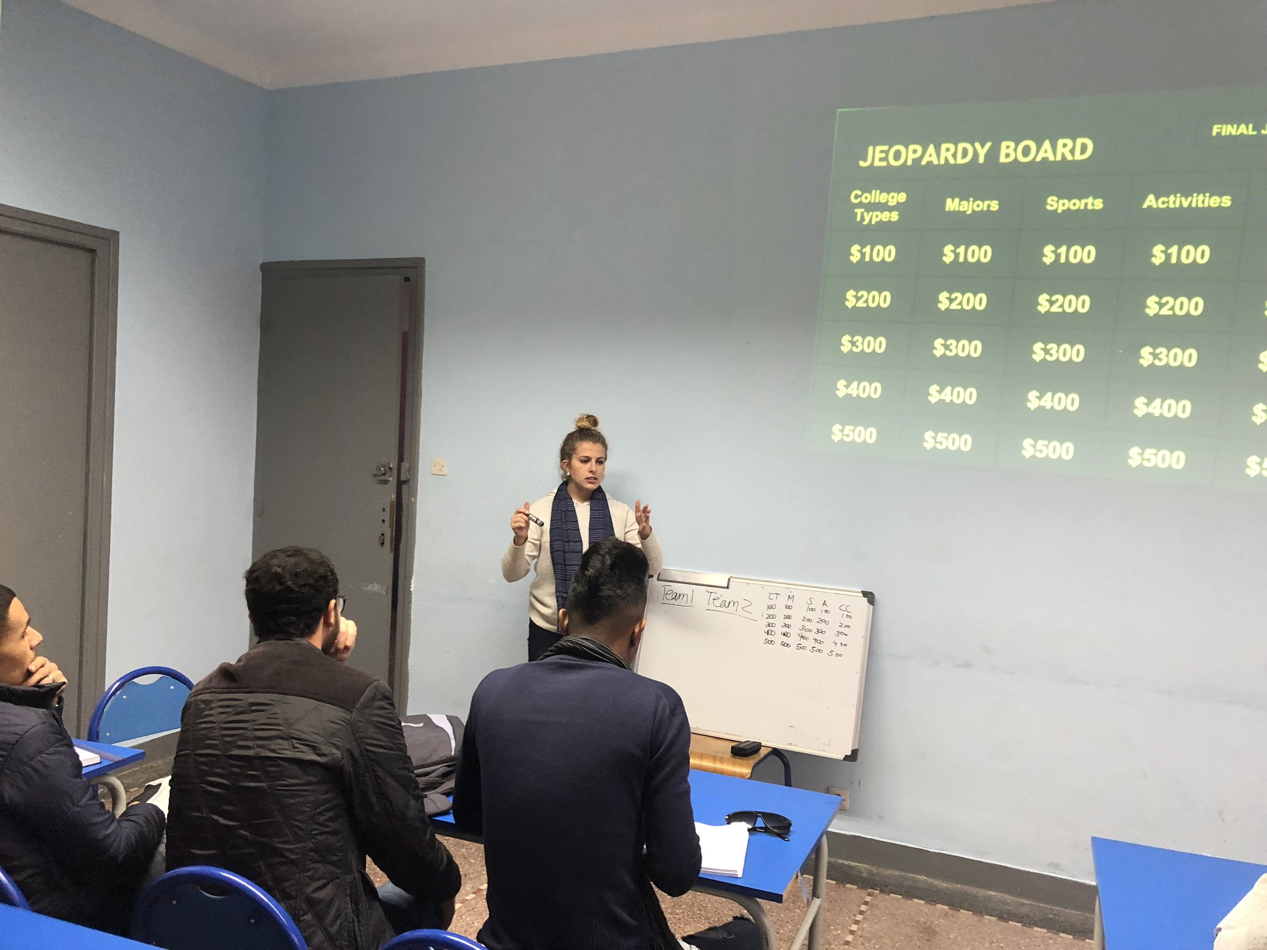 Let's make it a true daily double, Alex!  Student Kate prepared a Jeopardy-style activity with local students at Dar Chebab Les Orangers where they learned more about college in the US and relevant vocabulary. Photo Credit: AMIDEAST, Fall 2018