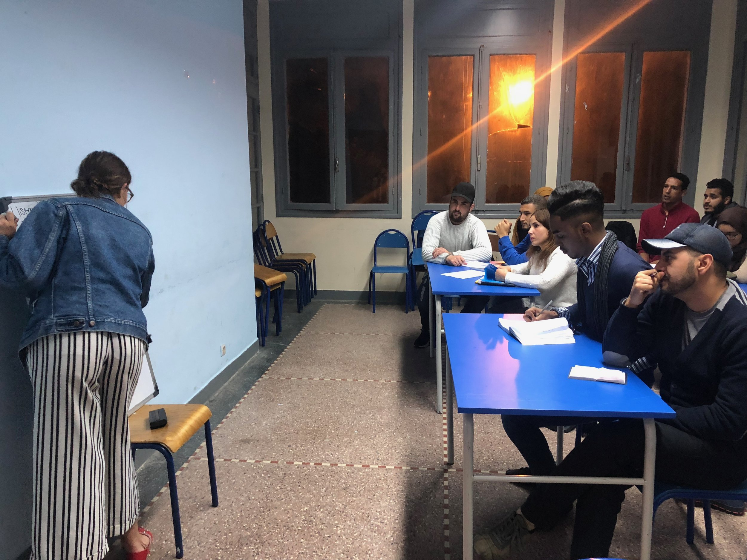 Jaycee here again leading a language activity during IEW in our Rabat office.