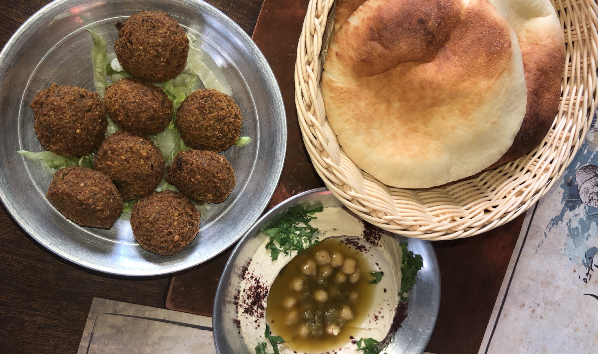 Falafel with hummus and pita has been a staple for us. We eat it basically everyday. The falafel here is the best we have had yet from a cafe in Abdoun Circle. Falafel is now my new favorite food! I would had never tried it before coming here or thought I would try it while in Jordan, but now I can't get enough. Photo credit: Arguin, 2019