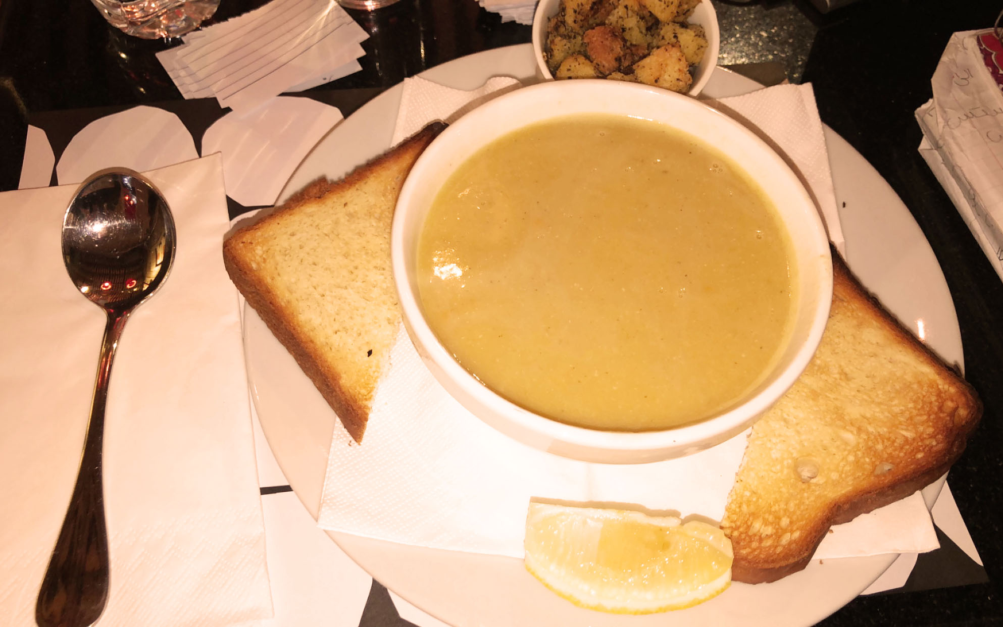 Another staple item we have been having a TON is lentil soup! My friend Elizabeth and I have gotten it at every café so far. It comes with breadcrumbs and it is delicious. My host mom also makes amazing lentil soup from scratch. The one pictured here is from Books@Cafe on Rainbow Street. This is another food I would normally never try in America! Photo credit: Arguin, 2019