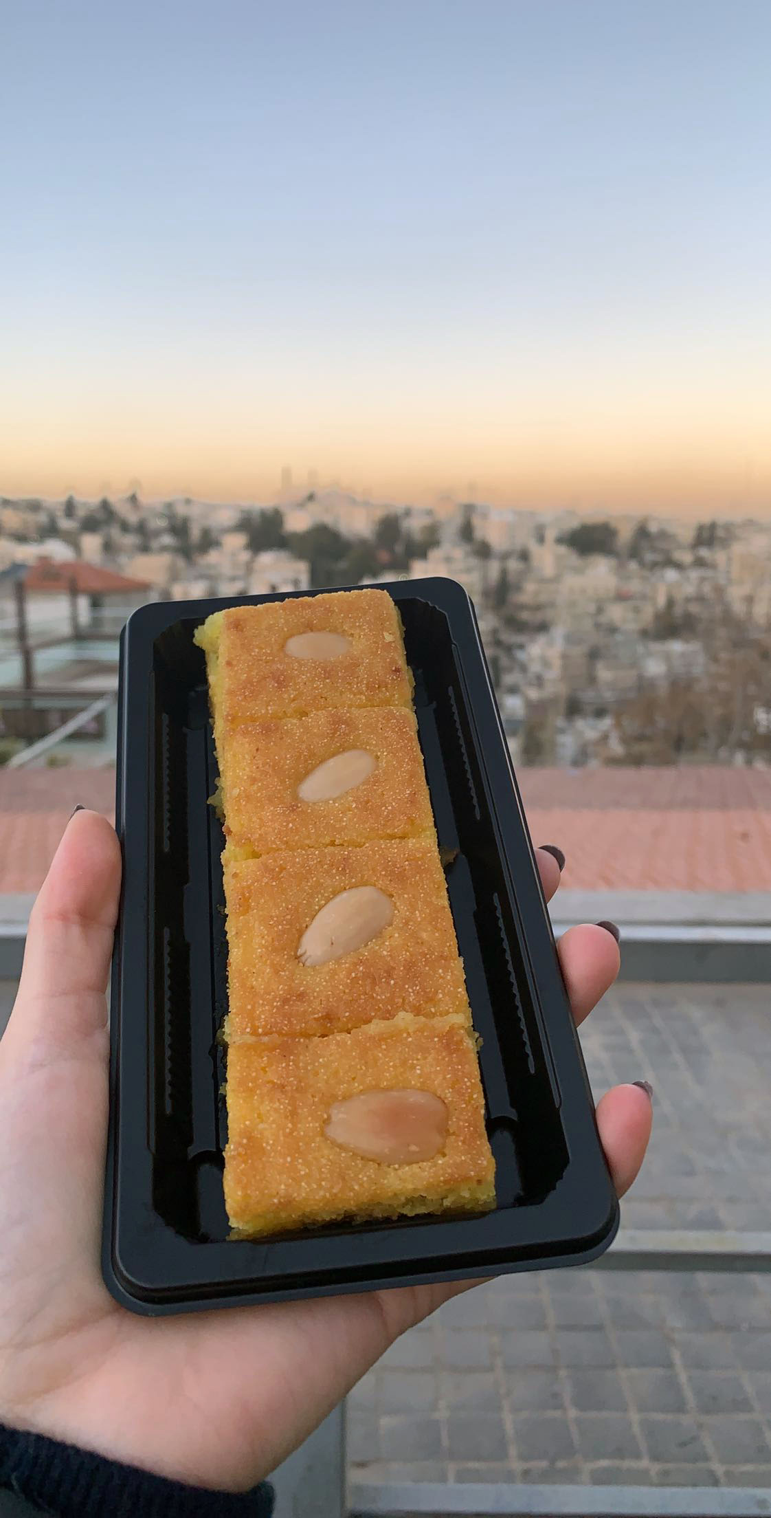 There have also been a lot of amazing deserts, both traditional and non-traditional! This is a photo of basbousa, a coconut sweet cake. I love sweets, so this was certainly not out of my comfort zone! This one is from a bakery on Rainbow Street. Photo credit: Arguin, 2019