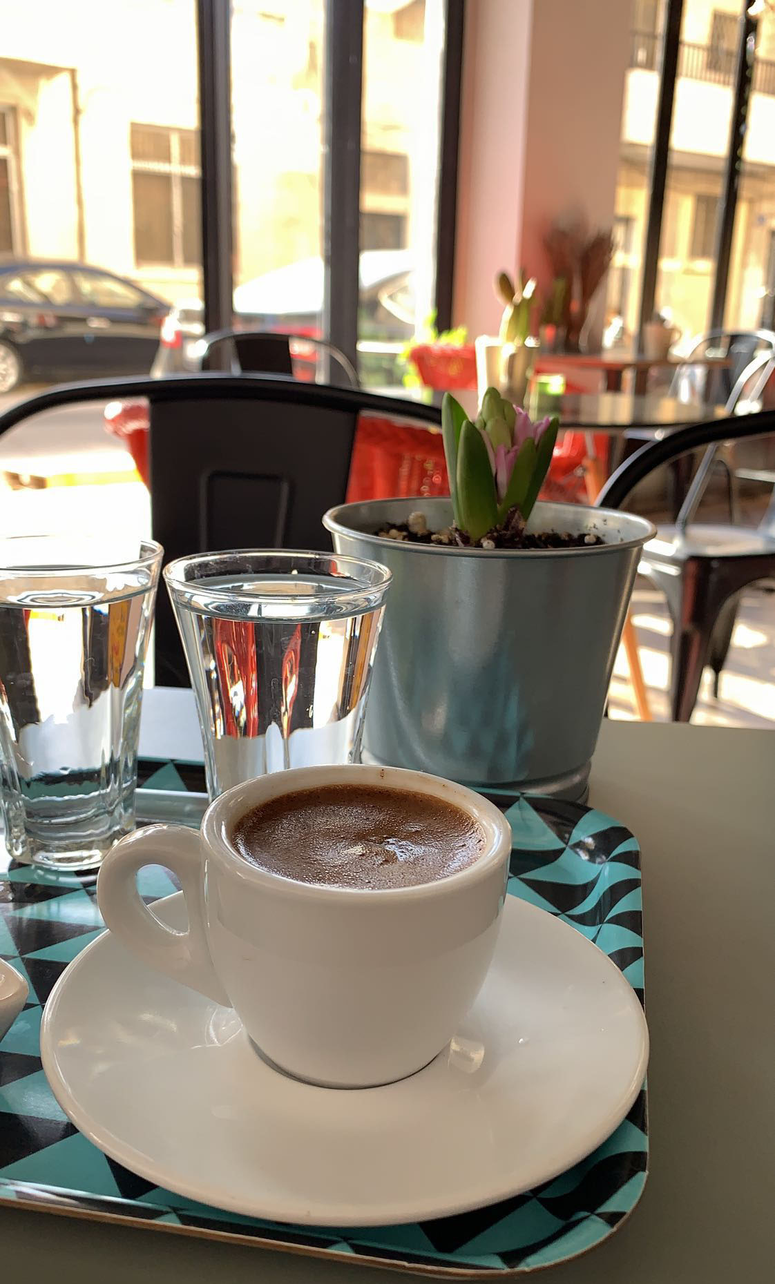 There have also been a lot of great drinks, such as many different types of tea. We have also fallen in love with Turkish coffee! This one is from Rumi Café in Weibdeh. Photo credit: Arguin, 2019