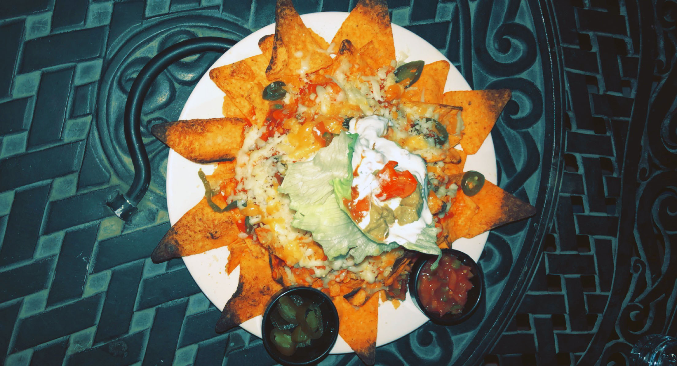 Another favorite of ours to try has been nachos! In Amman, they are made with Doritos, which makes them so much better! These nachos are from Vu's on Rainbow Street. Photo credit: Arguin, 2019