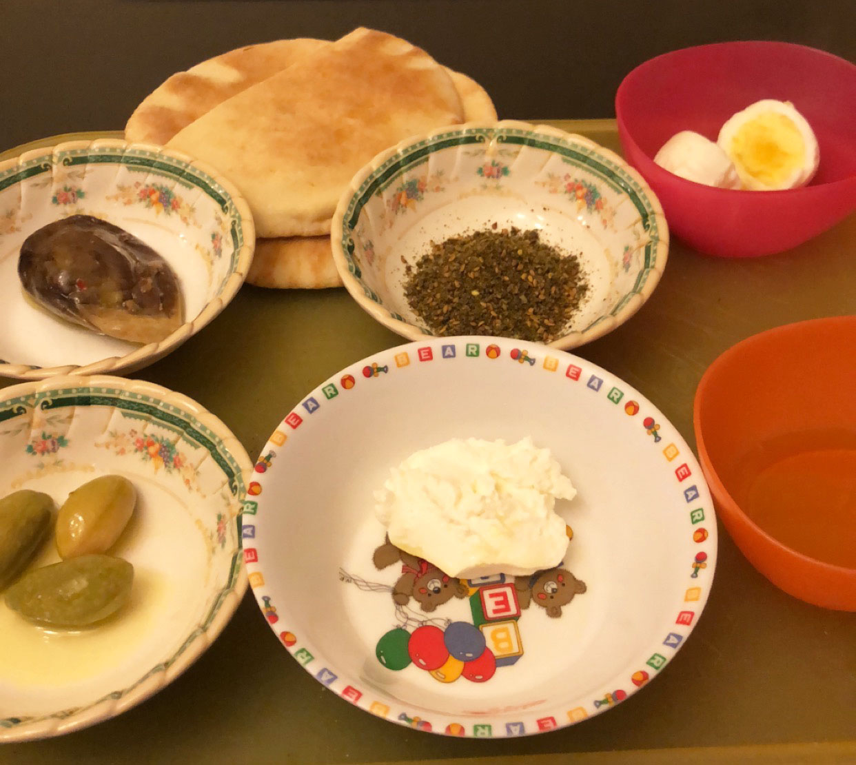 Here is a more traditional breakfast prepared by my host mom. This was a meal that I was really worried I wouldn't like, and at home it is something I would have ignored, but the combination of pita, zaatar, olive oil and labneh is actually really good! There have been some things that I haven't been able to get on board with, like the eggplant (also pictured), but I was proud of myself for trying it! Photo credit: Arguin, 2019