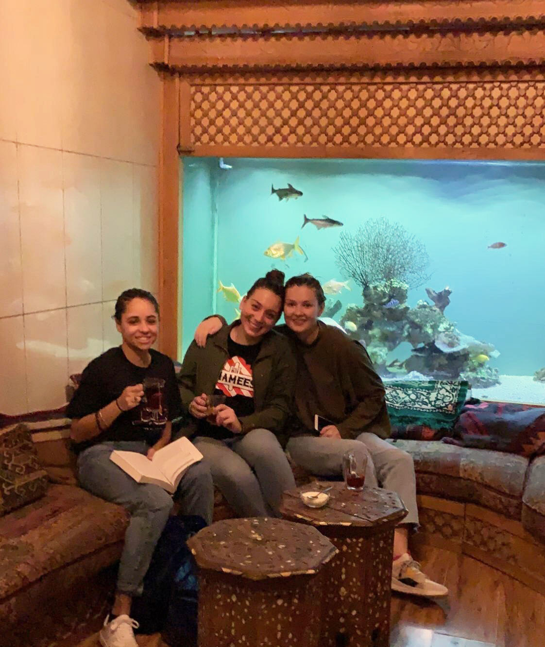 Enjoying our tea after a day at the hamam! Photo credit: M. Arguin, 2019