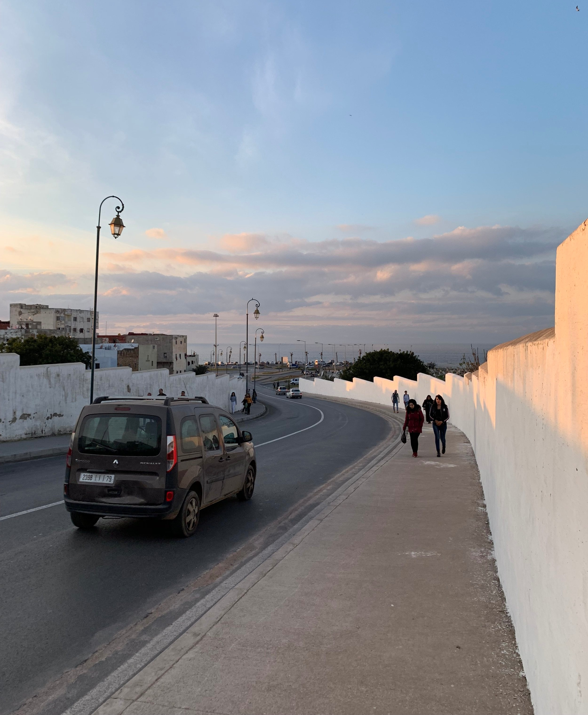 Avenue Al Marsa leads down to the waterfront from the ancient Portuguese fort known as the Kasbah of the Udayas. It borders an incredibly large cemetery with tombstones all facing toward the holy city of Mecca. Photo Credit: M. Aboko-Cole, Spring 2019.