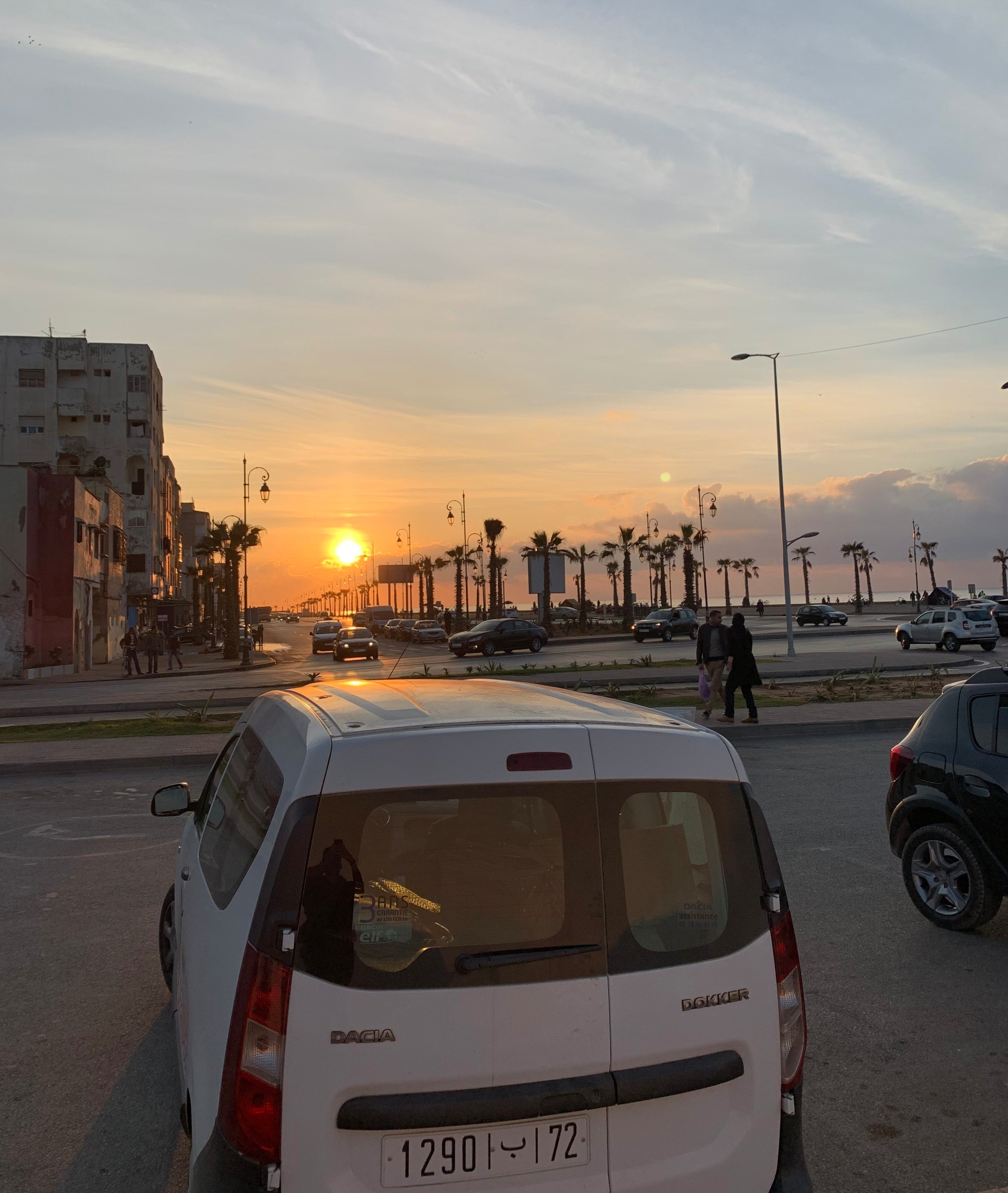 Avenue Al Marsa eventually turns into Avenue Mustapha Assaih. The road borders both the ocean with the beach's dramatic rocky coast lines and also the neighborhood of L'Ocean where I've been living with my host family and roomate Aidan. Photo Credit: M. Aboko-Cole, Spring 2019.