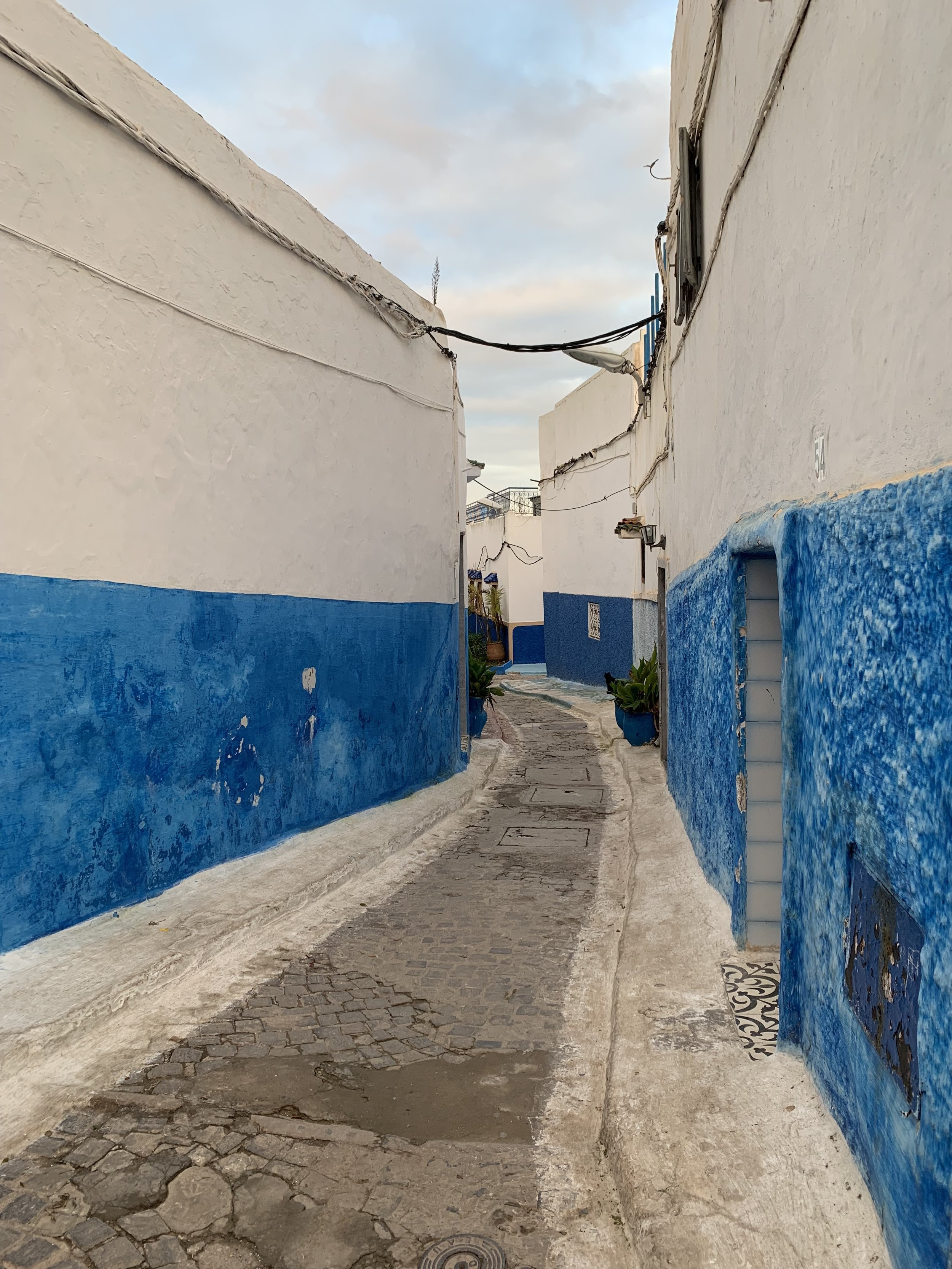 The winding blue streets and alleyways within the Kasbah echo the style of the famous blue city of Morocco, Chefchaouen. Photo Credit: M. Aboko-Cole, Spring 2019.