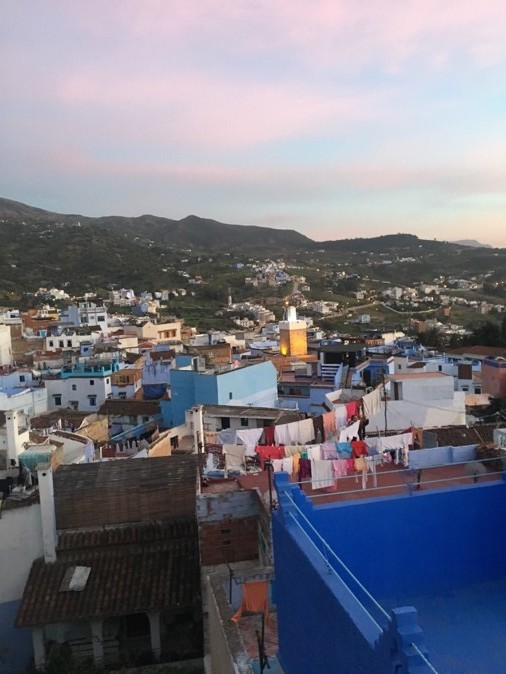 This is the view from our beautiful Aibnb! From the rooftop, we were able to see the sun set over the breathtaking mountains and the city of Chefchaouen. Photo credit: Dominique, 2019