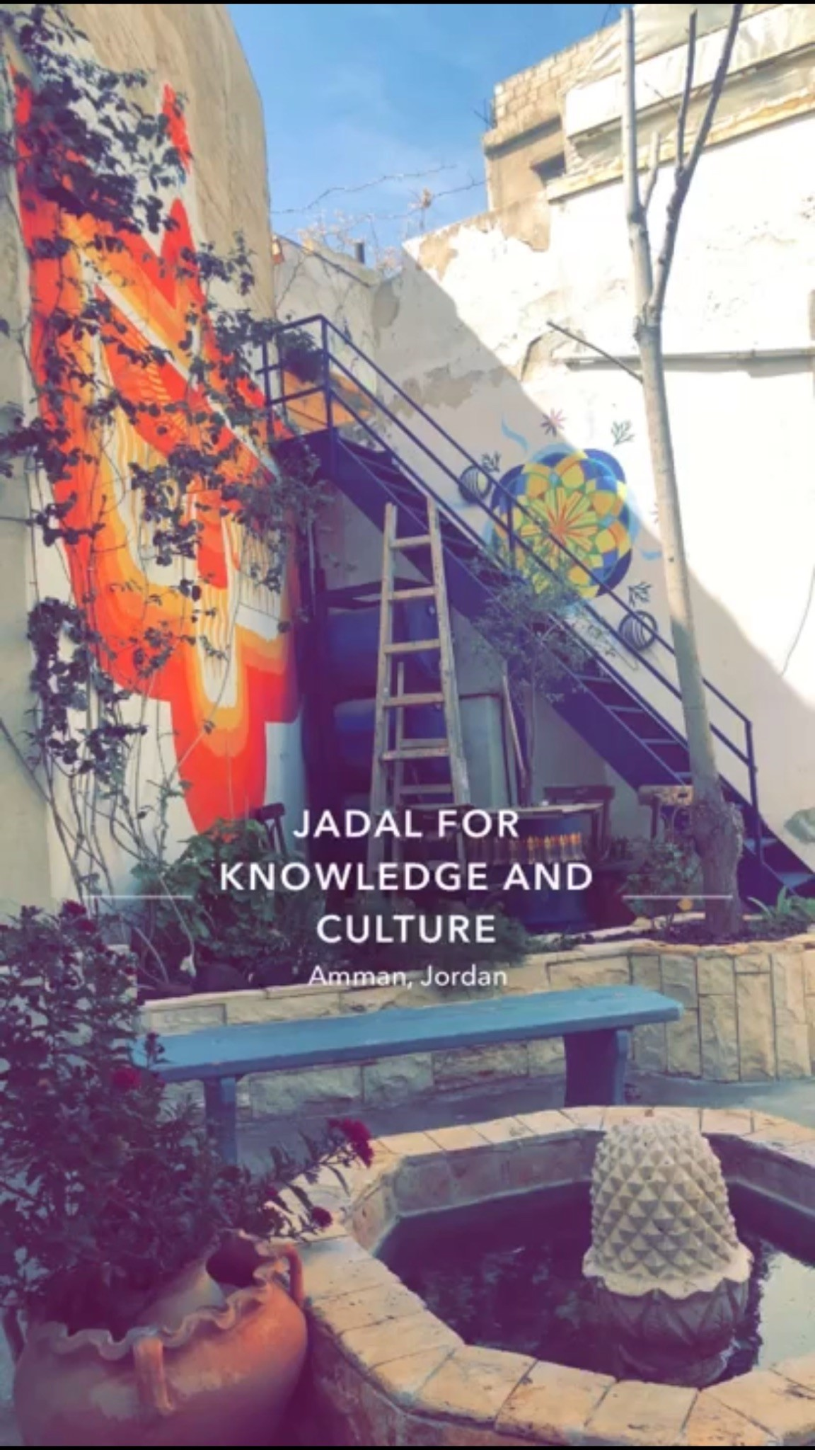 11. Jadaal Center for Knowledge and Culture in Weibdeh/Downtown  — The PERFECT outdoor study spot, pay by the hour. Photo Credit: Arguin, 2019