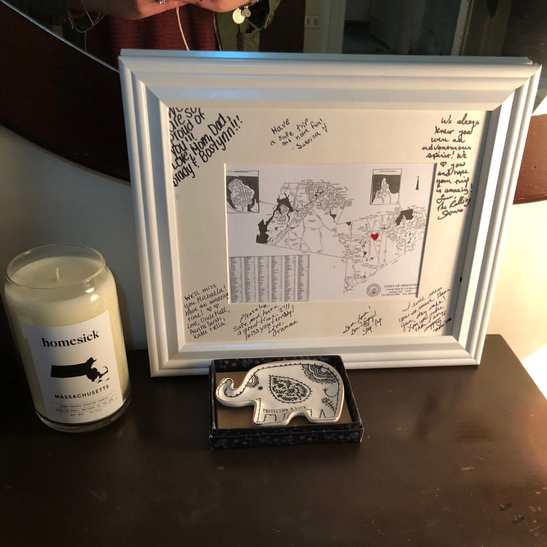 My family was really sad for me to leave, but was also excited. They sent with me a frame of my town and a Homesick candle! Photo credit: Arguin, 2019