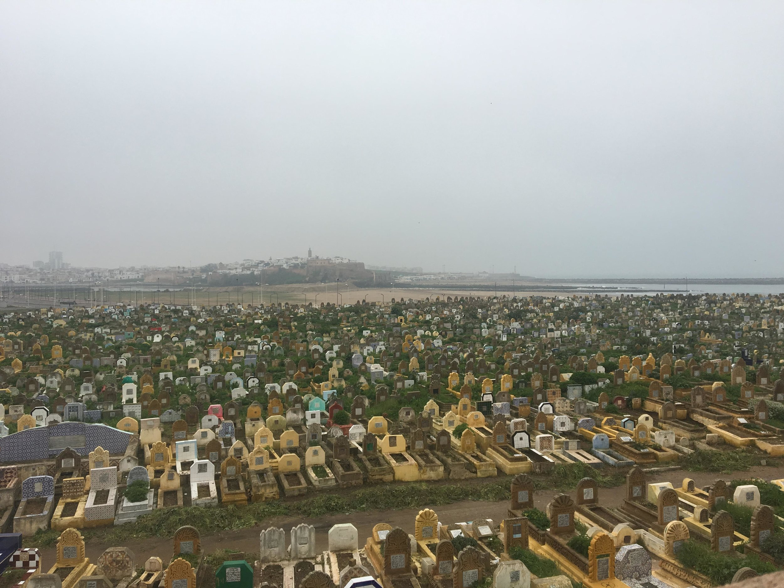 Just across the river from Rabat, Sale is decorated with history and brilliant with activity. The cemetery stretches along the river, and Rabat is visible from afar. Photo credit: Fisher, 2019