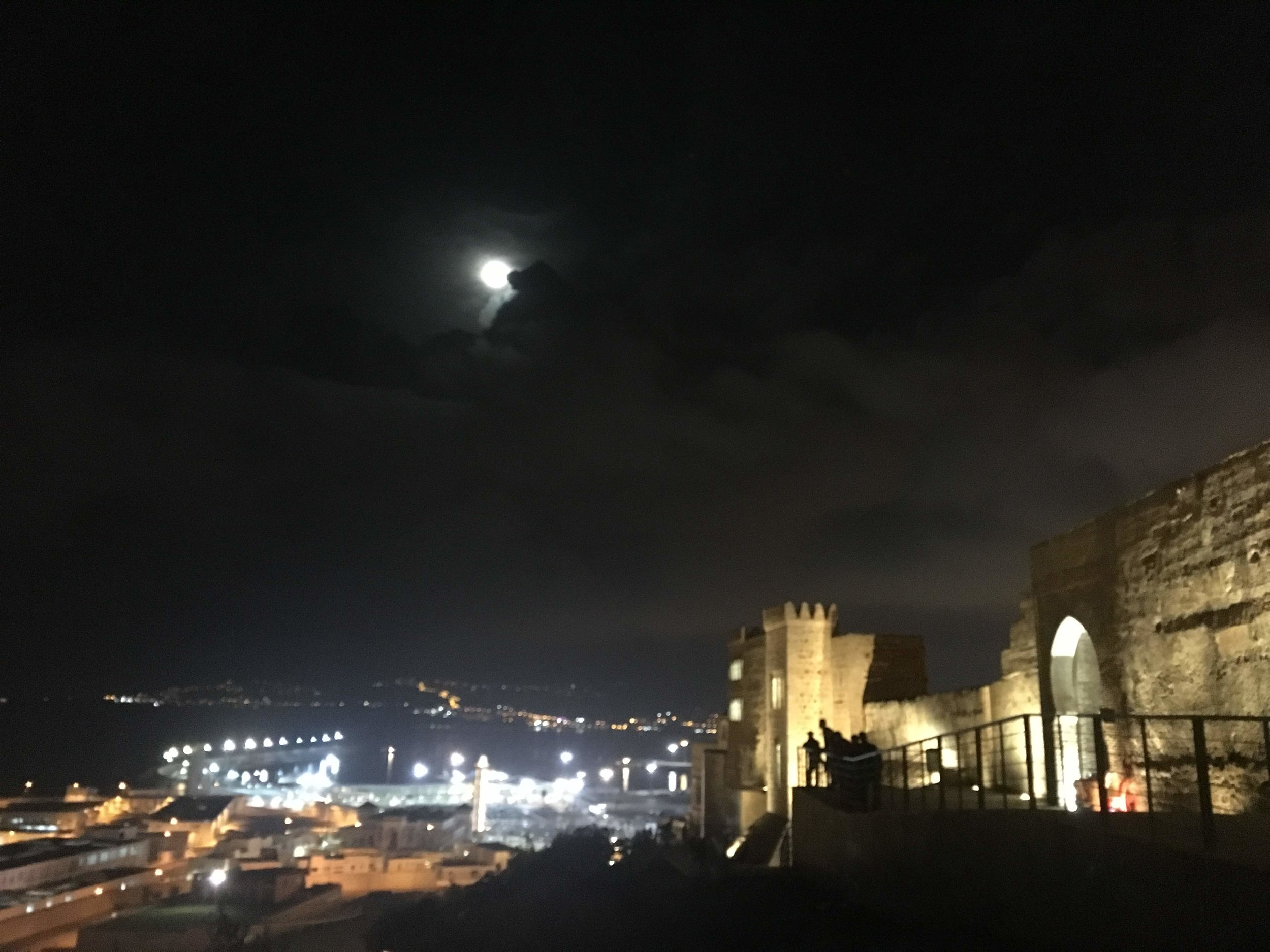 Spain shines in the distance from Tangier, and the view from the ramparts is breathtaking. The perfect place to try  sfenj  with fresh figs and goat cheese. Photo credit: Fisher, 2019