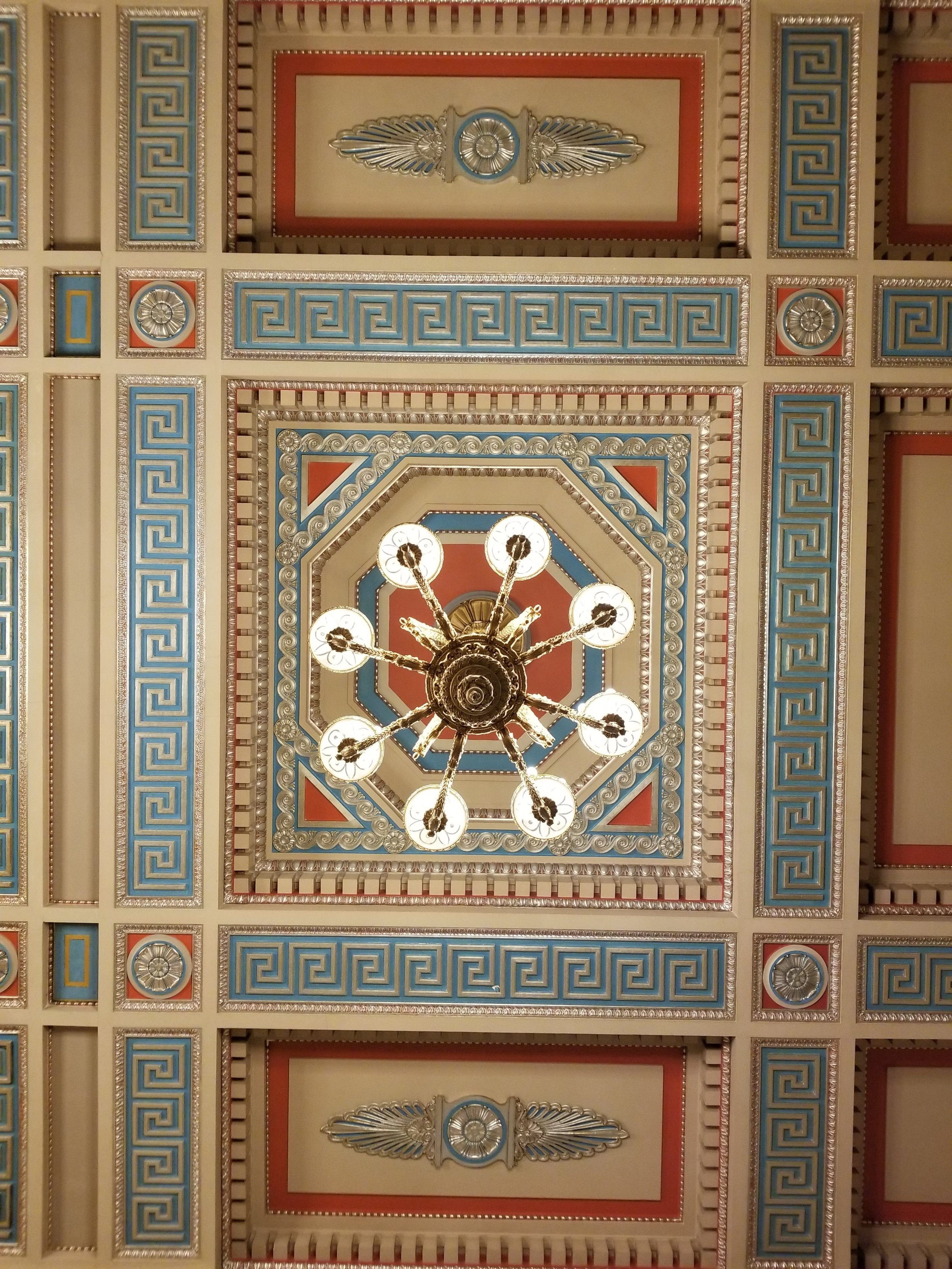 While visiting Stormont, the Parliament building of Northern Ireland, I highly recommend looking up. Throughout the building are beautiful patterns and carvings – on the ceiling, on the walls, along the pillars – really just about everywhere. Photo credit: Morrill, 2019
