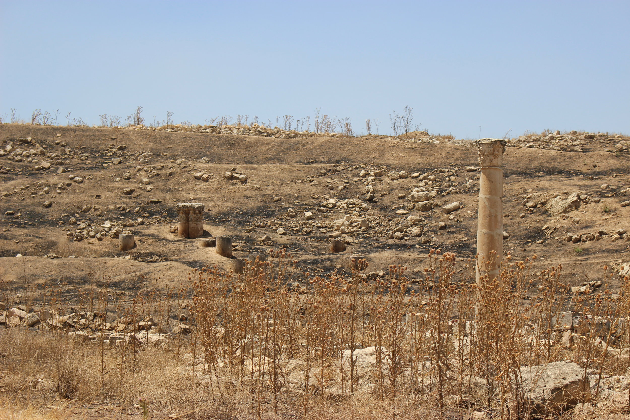 The hills above Jerash are scorched black by previous blazes. Ruins stand starkly amid the soot. Photo credit: Jessen, 2019