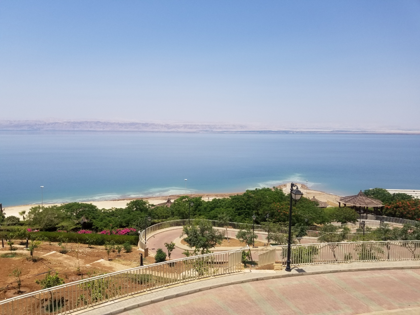 The Dead Sea, lowest point on Earth, was also seemingly the hottest place on Earth during a heat wave. Photo credit: Morrill, 2019.