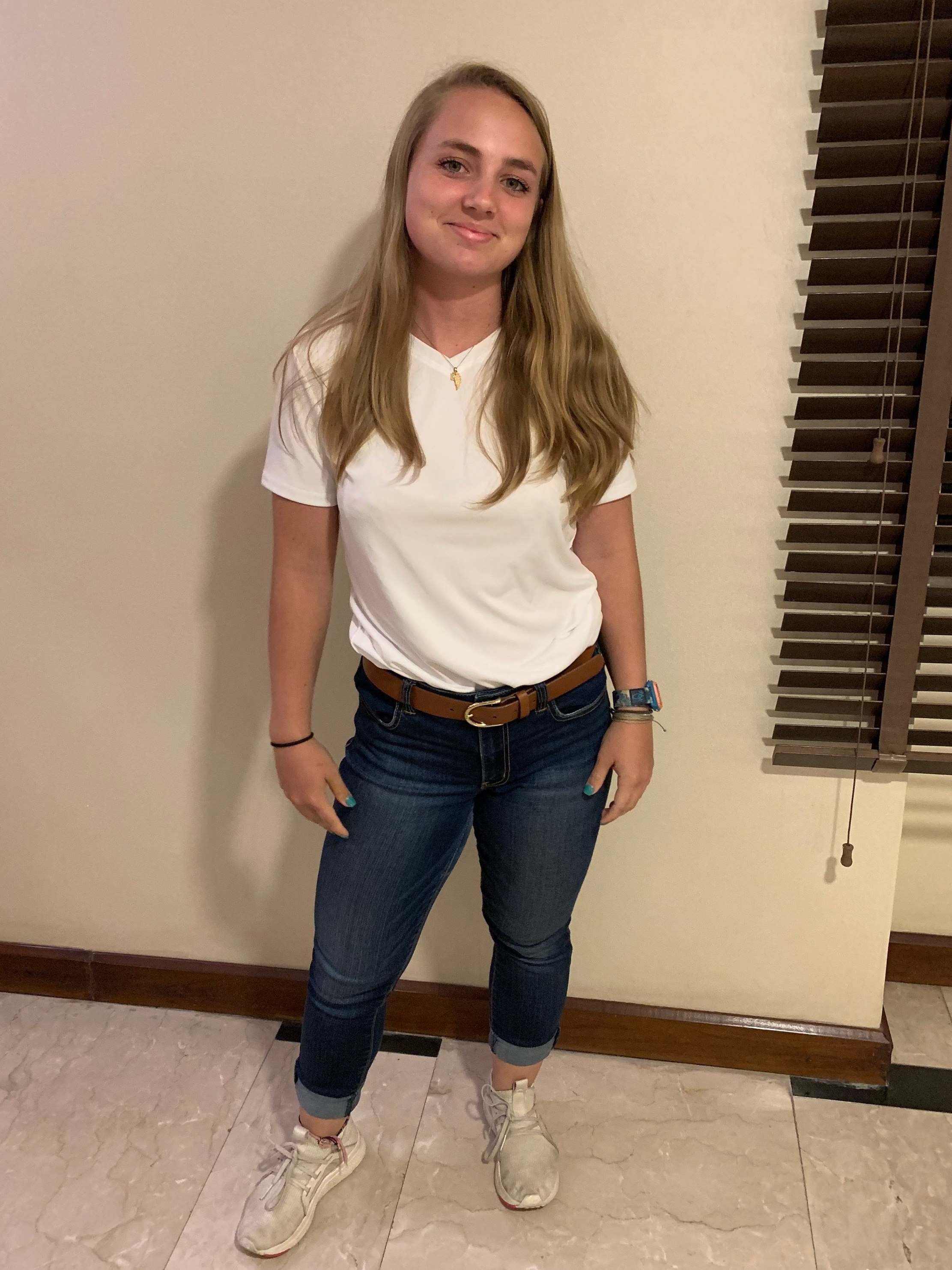 My sister does a great job of showing that you can be conservative and cute. The notable thing is to not show your shoulders. Photo credit: Jones, 2019
