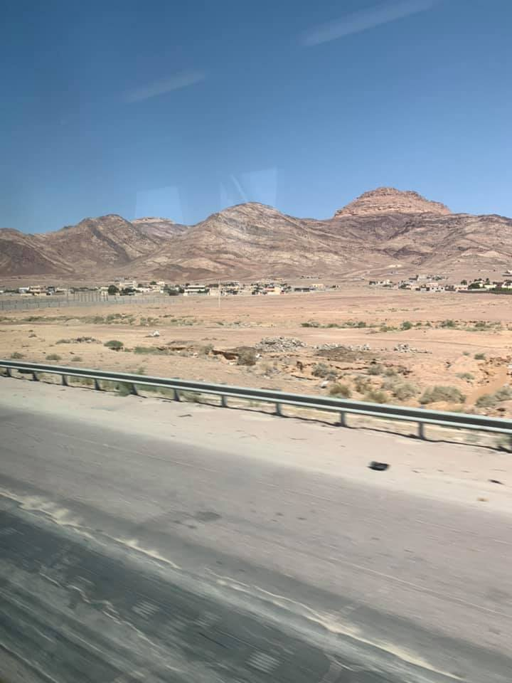 After my first week of classes, my friends and I decided to spend the weekend in Aqaba, which a town in the southernmost part of Jordan (about a 4-hour drive away from Amman). We took a bus that left early Friday morning that cost 8 JD each way. Since we left so early, I slept most of the way, but I did get a chance to see some of Jordan's landscape outside of the big cities. Photo credit: Moriarty, 2019