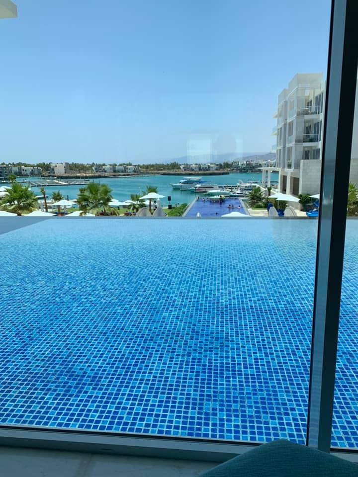 The pool was visible from almost every window in the hotel, and they had music from a DJ blasting all afternoon. While men and women could be in the same pool, there was a family section with its own pool available next to the larger infinity pool. Photo credit: Moriarty, 2019