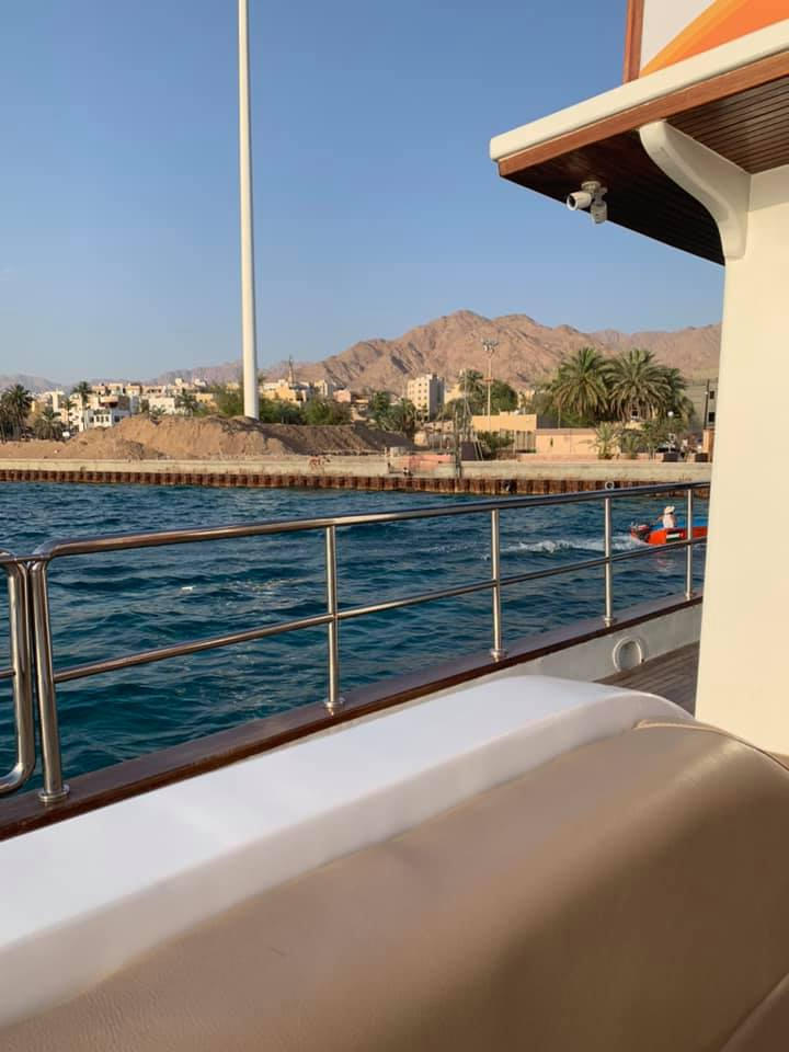 This is a view of Aqaba from the boat before we departed. The city is focused on tourism, but I was able to see from here where the approximately 188,000 residents live. In my conversations with some of the employees at the hotel and in the city, young people will move from places like Amman to come and work in the tourism industry. Sometimes, they come from even farther away; while this may have been a translation mistake, I think our snorkeling guide was from South Africa! Photo credit: Moriarty, 2019