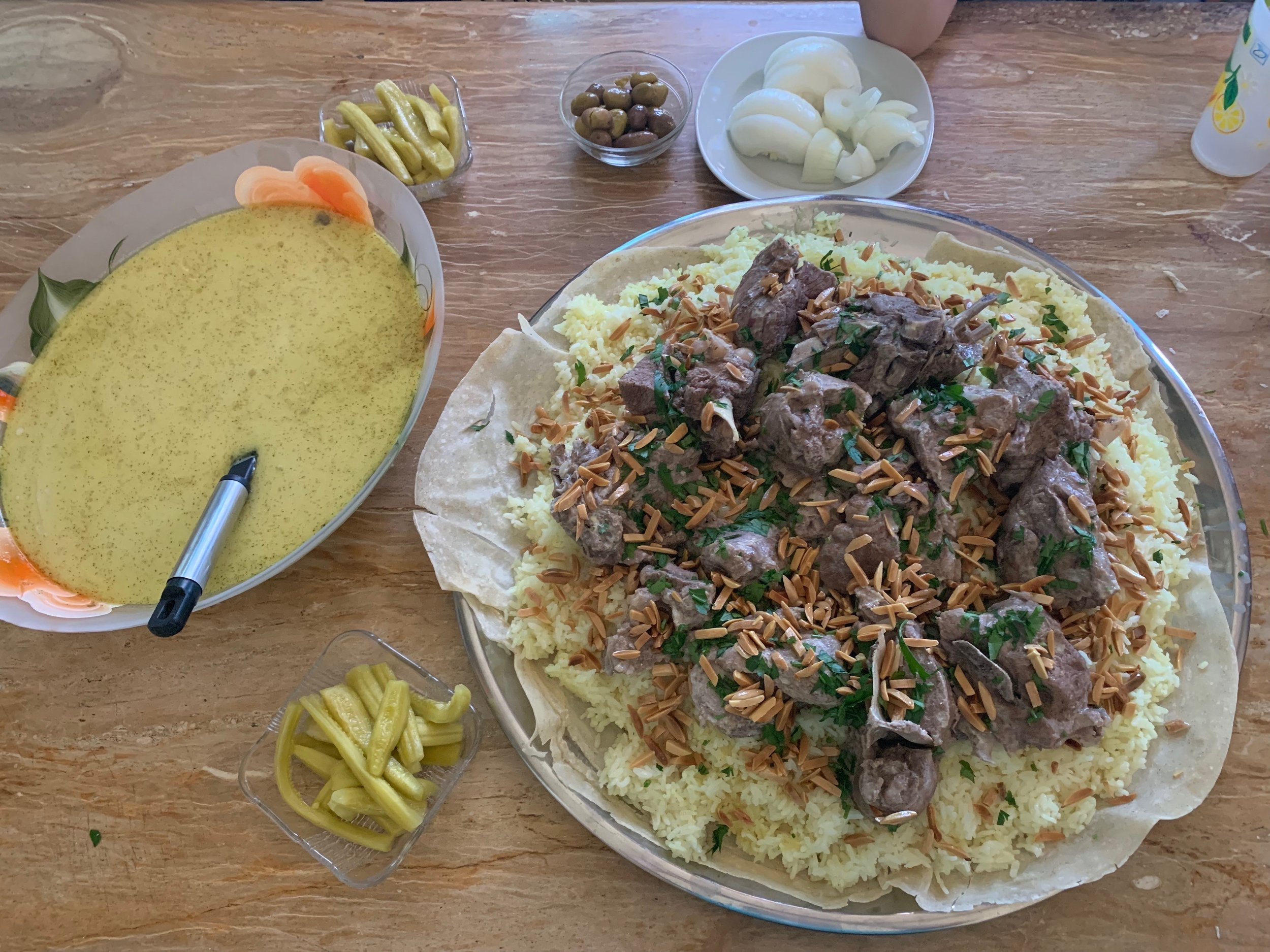 Delicious homemade  mansaf , my favorite Jordanian meal. A great restaurant that makes this dish is Al Kuds Downtown. Photo credit: Russo, 2019