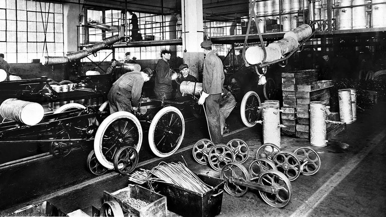 Ford Motor Company  Model T  Assembly Line, 1913. Within a year, further improvements reduced the time required to build a car to 93 man-minutes, its cost fell to less than $400, and the affordable  Model T  changed the landscape of America.