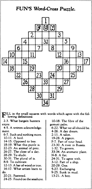 "Arthur Wynne's first ""Word-Cross"" Puzzle, published December 21, 1913 in the  New York World  newspaper. Within a decade, crossword puzzles were featured in almost all American newspapers."