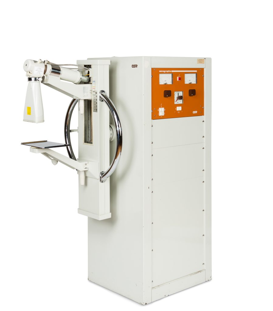 The world's first mammography machine, the  Senographe .  Image credit: GE Healthcare.