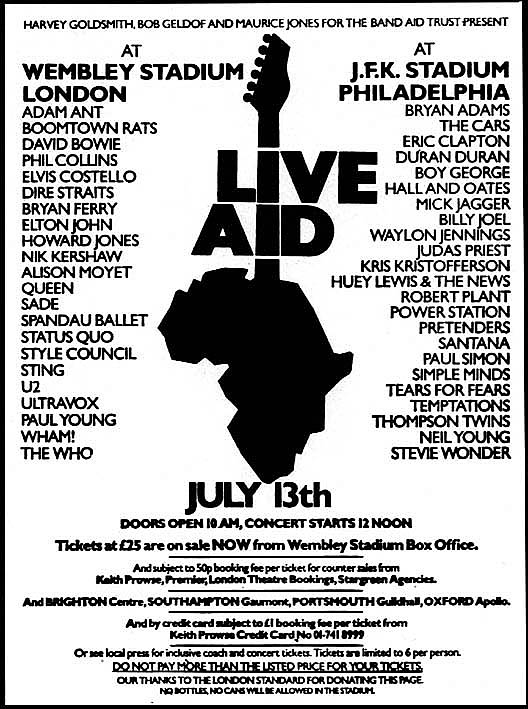 Original promotional poster for Live Aid