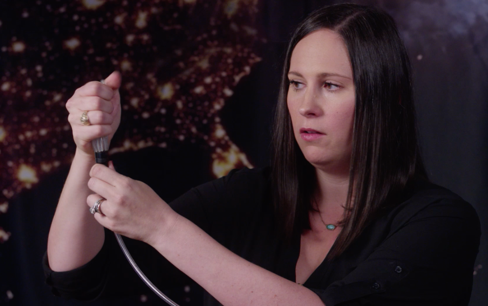 Christina Bolch, PhD, demonstrates the unique, collapsible aspect of CorInnova's cardiac assist device