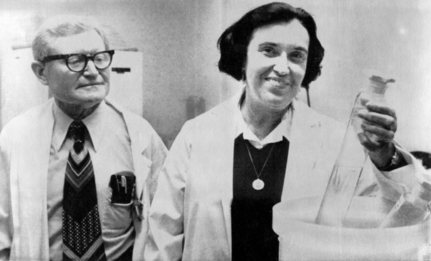 Rosalyn Yalow, PhD with Solomon Berson, MD, pioneered research that led to a Nobel Prize in Physiology or Medicine in 1977.  Source: Department of Veterans Affairs