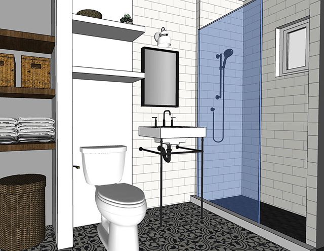 Here's a little 3 d rendering of an upcoming bath project. I can't wait to see this one all finished!