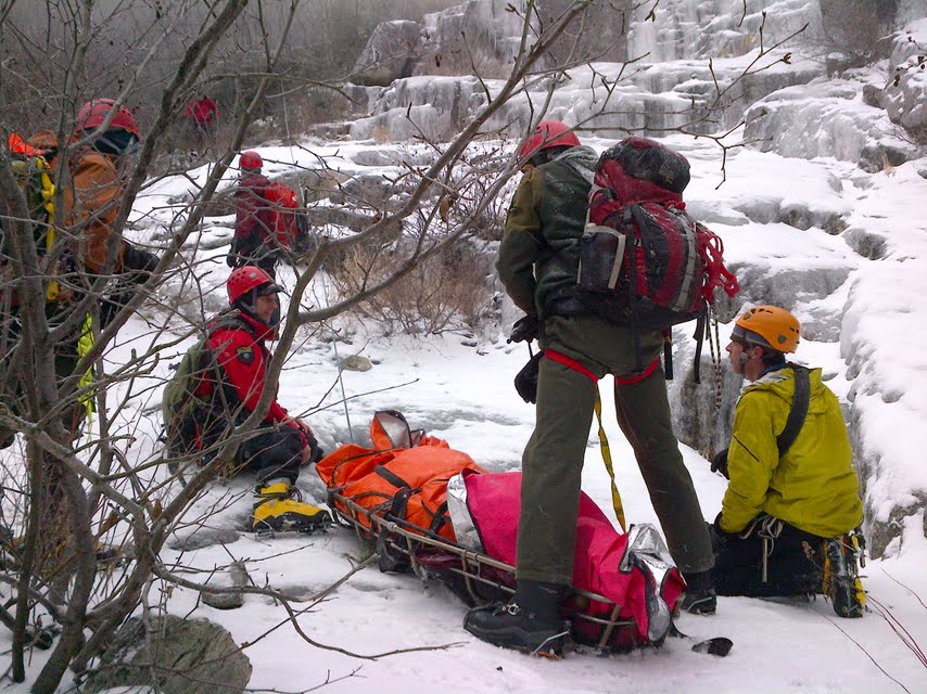 High angle ice rescue
