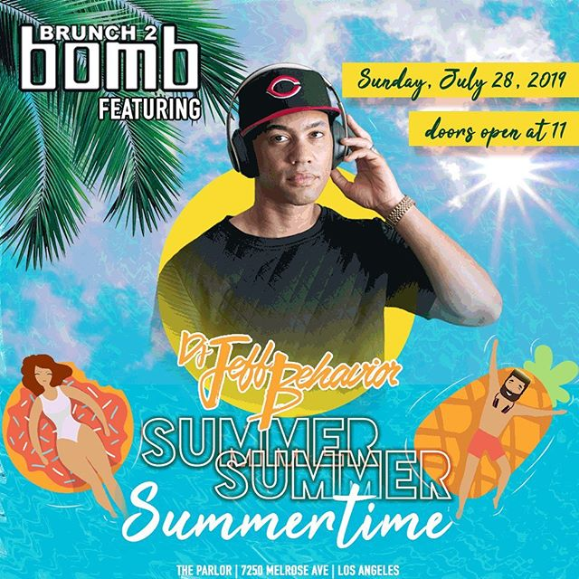 It's showtime! See you today at @theparlorhw for a pop-up party with opening DJ set by a #B2BfamilyOG @dj.jeffbehavior at 1pm! See you soon! #summersummersummertime #brunch2bomb  Need a ticket?  Same day tickets available at the door.  See a member of our team for assistance!