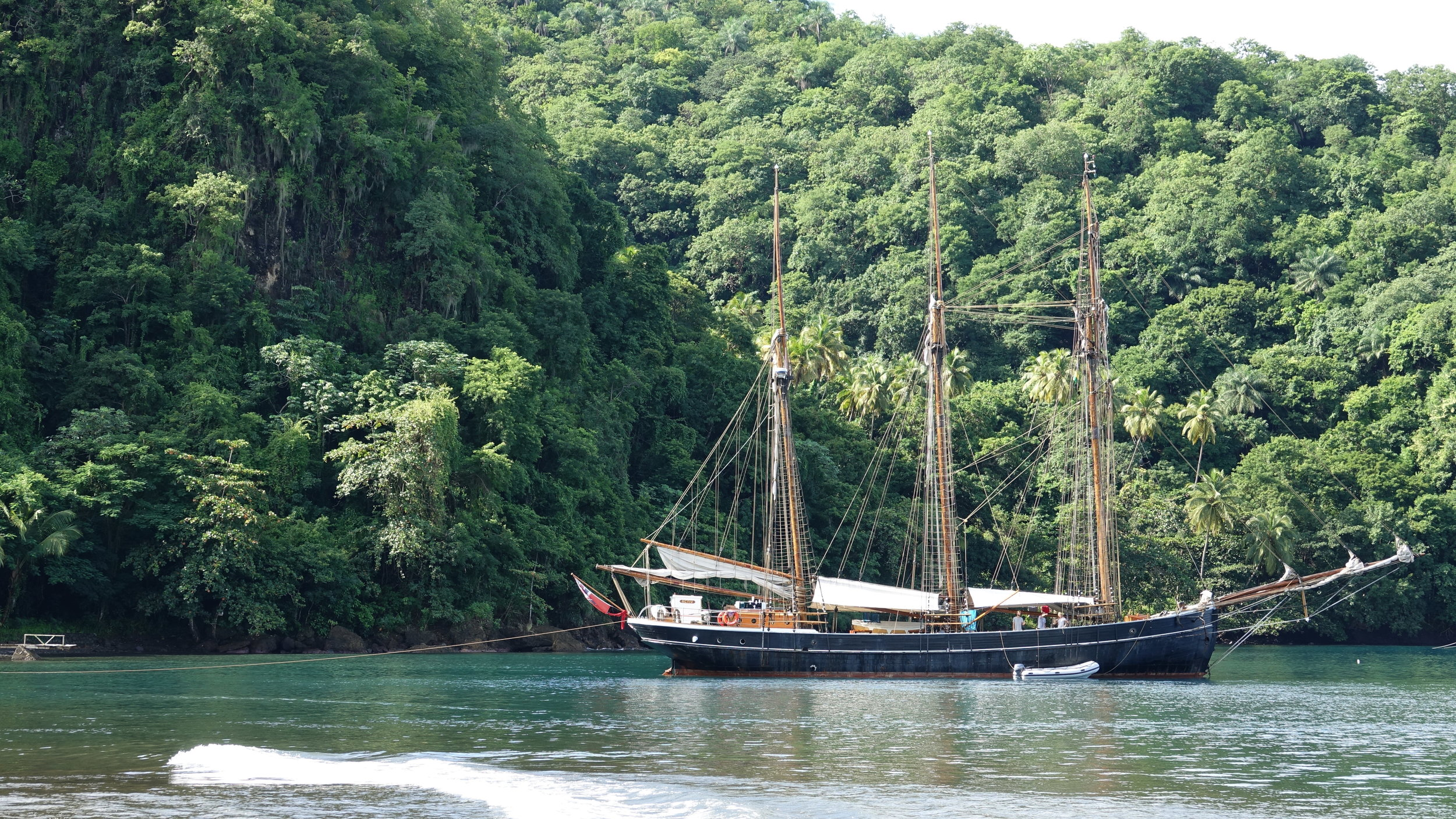 In Cumberland Bay, St. Vincent, with the stern tied to a palm tree.