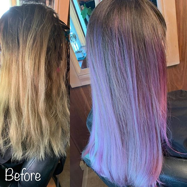 Love, love how this cool purple turned out! #matrixsocolorcult #purplehair #basaltcolorado #hairstylist #lovewhatyoudo #coolpurple