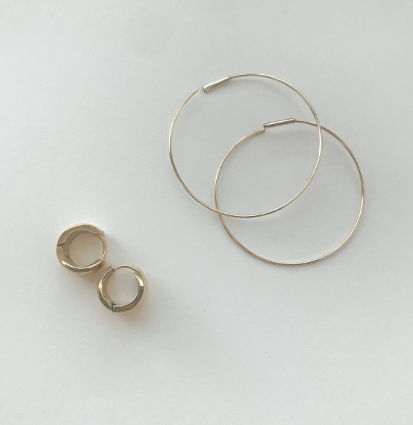 big gold hoop earrings and small gold hoop earrings