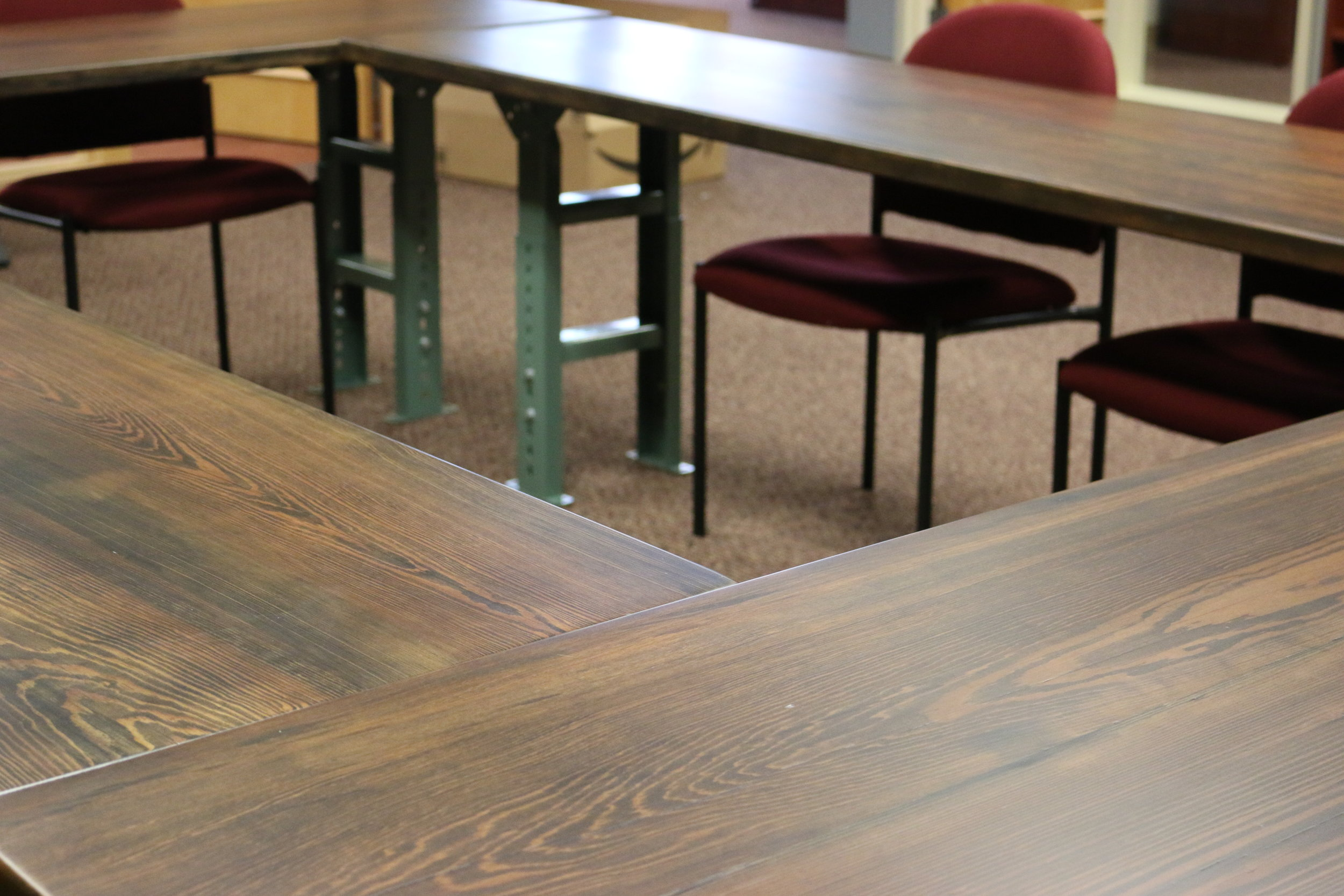 Sangamon Reclaimed Illinois Environmental Council Reclaimed wood conference tables Springfield Illinois.JPG