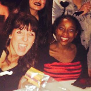 A halloween fundraising event circa 2014 - open mouthed person = me, adorable � = Shahadah
