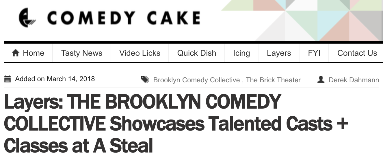 Article in Comedy Cake -