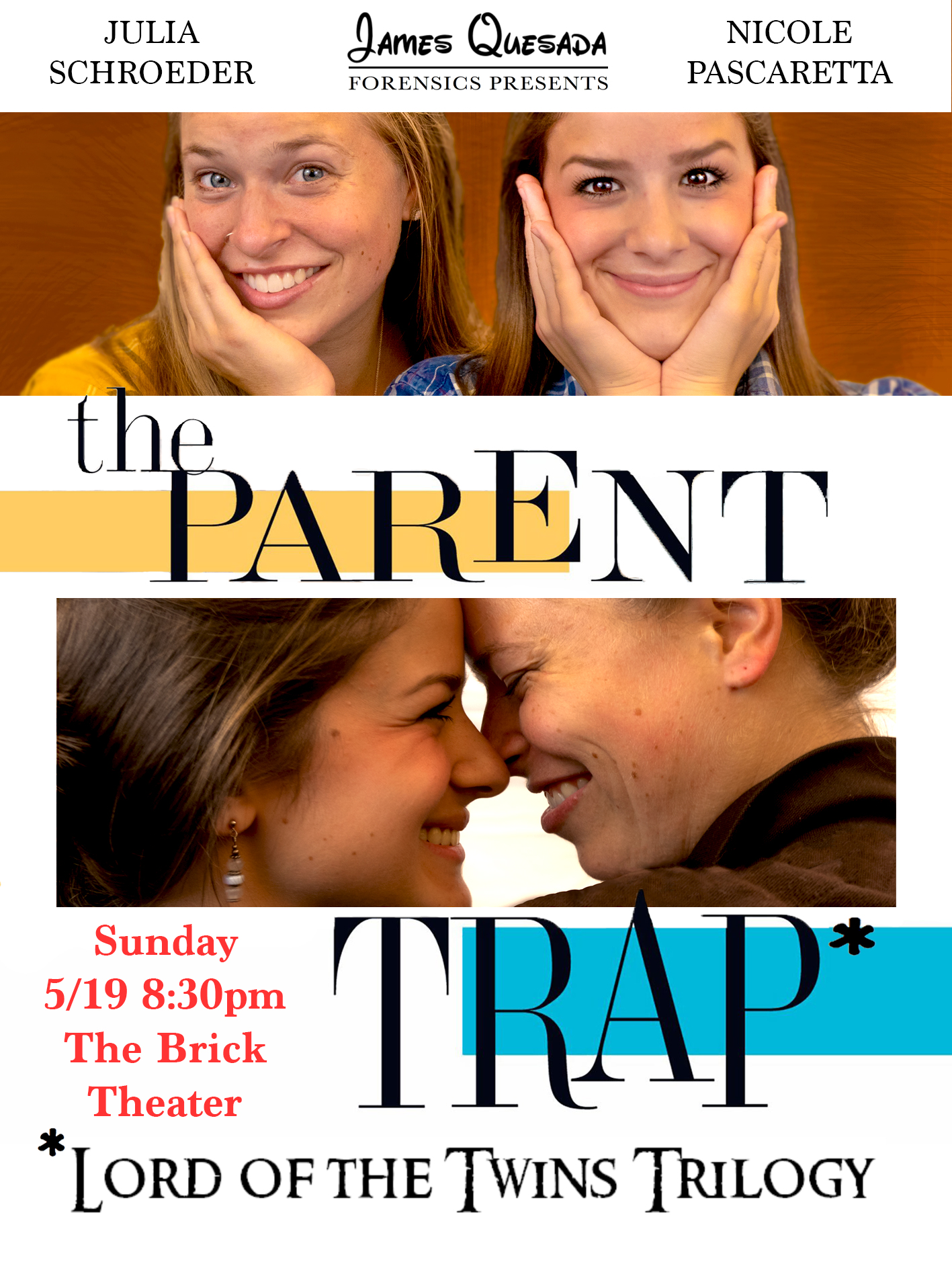 - The Parent Trap: Lord of the Twins TrilogyNicole Pascaretta and Julia Schroeder present their two-woman three-part reimagining of The Parent Trap. An incredible, high energy interpretation of the Disney classic with a Lord of The Rings twist. It's a mix of re-enacted scenes from The Parent Trap, commentary on seeing the movie through the eyes of a young girl and how Nicole and Julia's feelings have changed (or stayed the same) as they go back and watch it as adults. Sometimes with biting commentary, sometimes with heartfelt nostalgia, and with themes of Lord of the Rings mixed in to really elevate the storytelling.This show has been described as