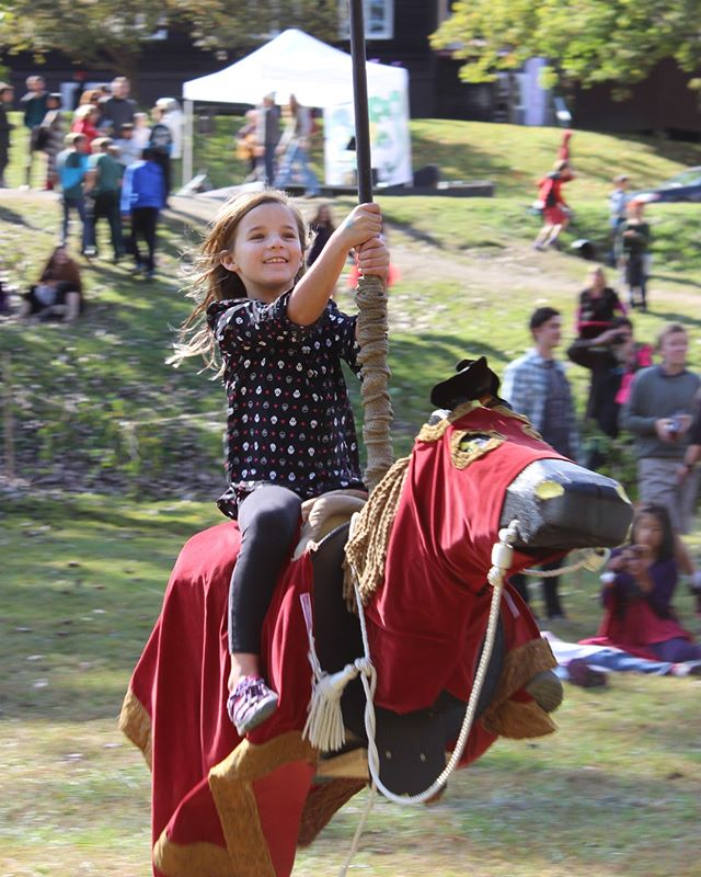 2 days until The Medieval Faire! . Put your bravery to the test and come ride Sir Lancelot's Ride! A Faire favorite for many years, you will glide through the air on Sir Lancelot's trusty steed while attempting to lance rings as you zoom by. . Link in bio⁣ . 🐲🏰 ⁣ . #putneyvt #discoverputney #tgsmedieval #thisisvt
