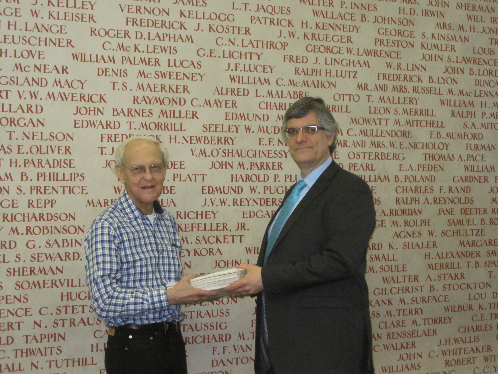 ITIC co-founder and Economic Adviser Charles McLure delivers materials on Tax Reform in Kazakhstan to Anatol Shmelev, the Robert Conquest Curator for Russia and Eurasia at Stanford University's Hoover Institution Archives.