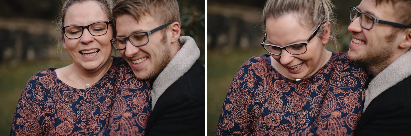 close ups of man and woman smiling and laughing