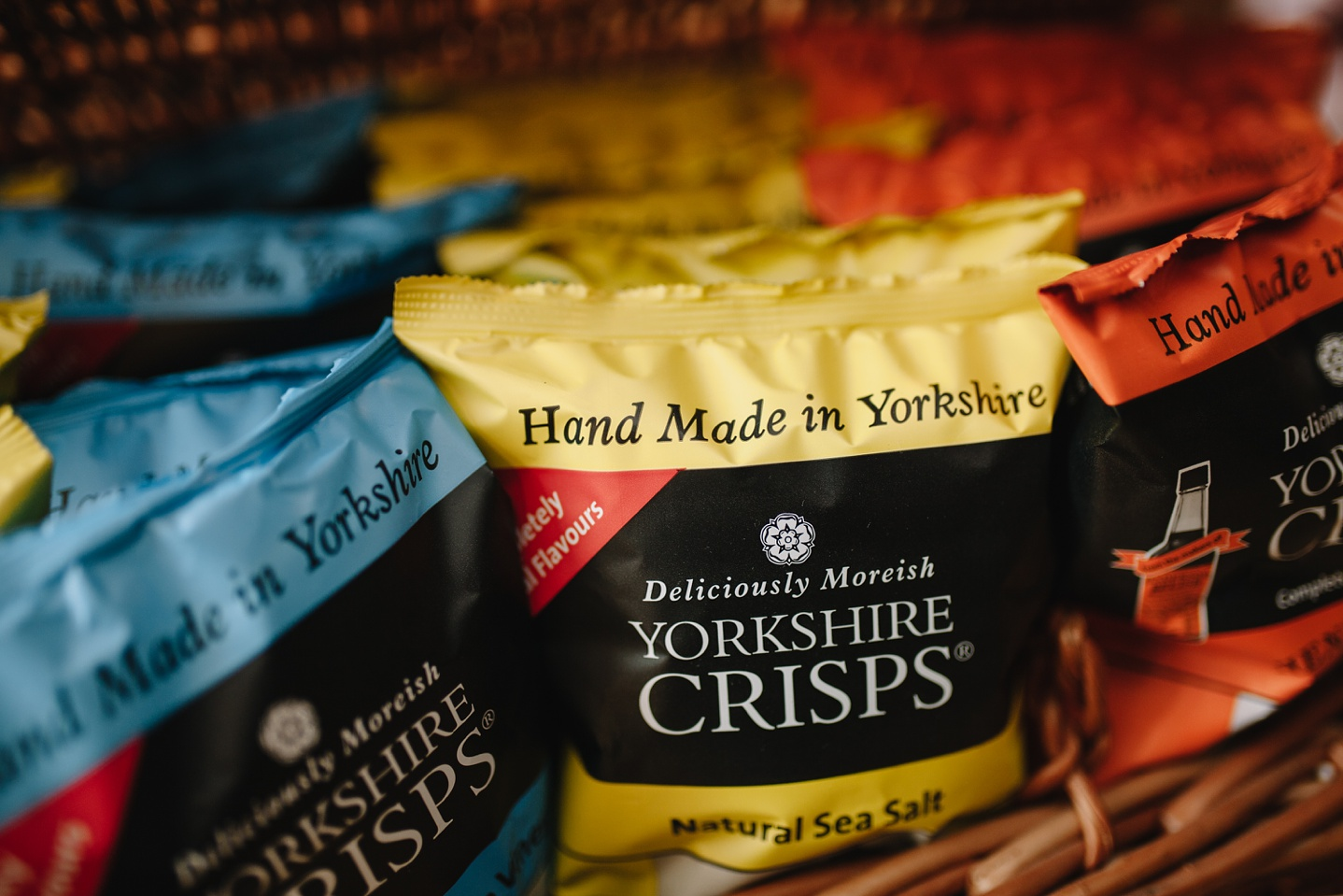 close up of Yorkshire Crisps wedding favours